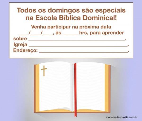 Convite Para Escolinha Dominical  Modelos Para Editar E Imprimir