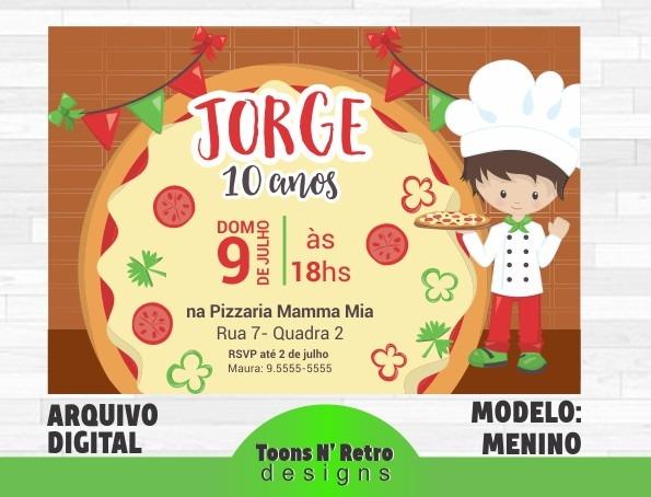 Convite Festa Com Pizza