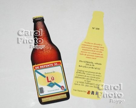 Convite Garrafa De Cerveja    Carol Brindes Personalizados
