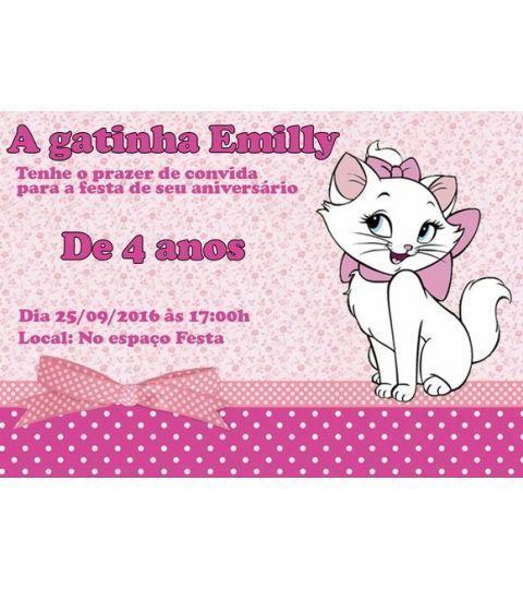 Convite Gatinha Marie 7x10 Personalizado