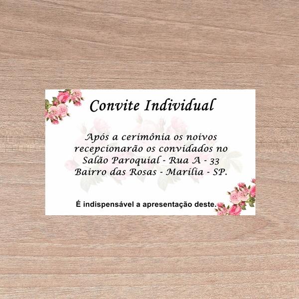 Convite Individual Casamento Tamanho