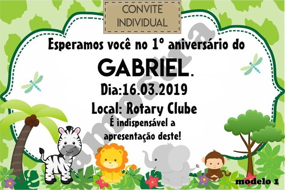 Convite Individual Infantil Safari