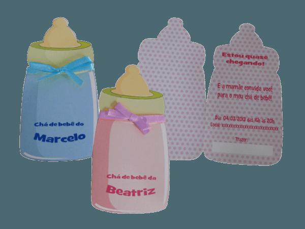 Convite Chá De Bebê Mamadeira Personalizado