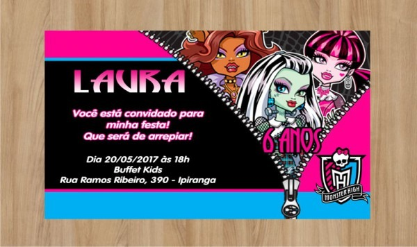 Convite Monster High Frete Grátis No Elo7