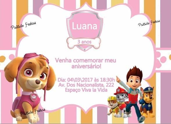 Convite Patrulha Canina No Elo7