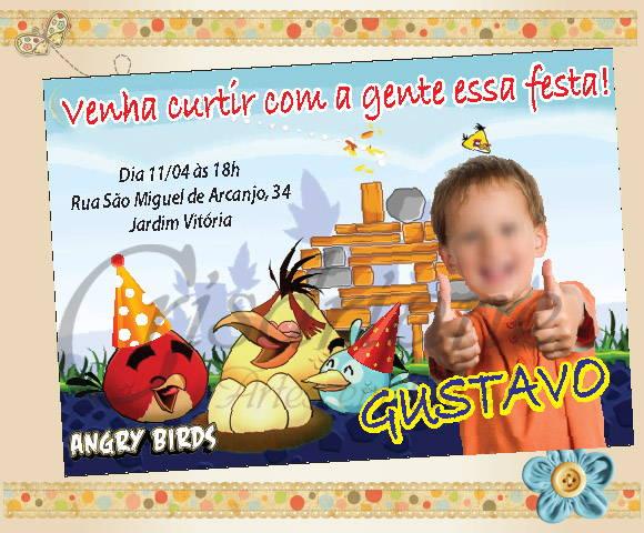 Convite Personalizado Angry Birds No Elo7