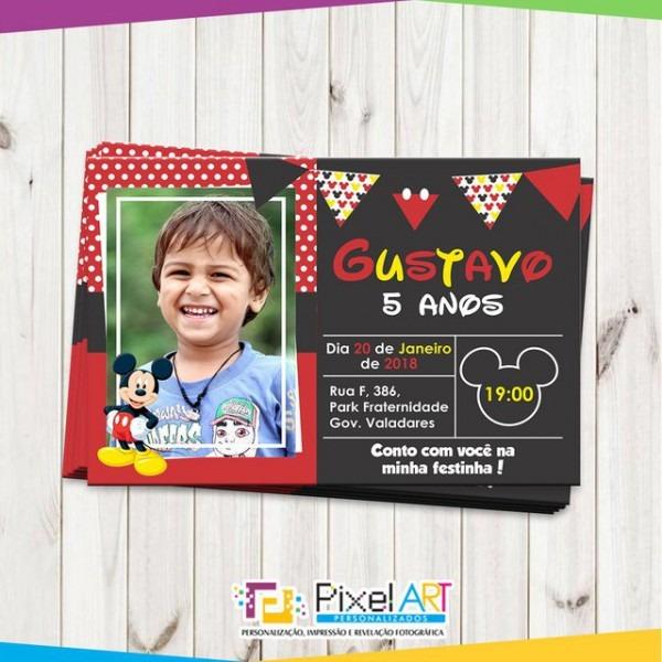 Convite Personalizado Mickey Com Foto