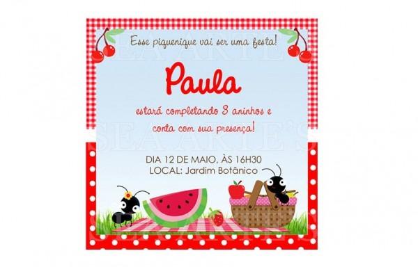Convite Piquenique Impresso No Elo7