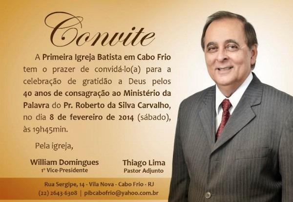 Convite De Celebração De 40 Anos De Ministério Pastoral Do Pr