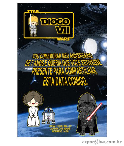 Convites Infantis Para Star Wars M6886