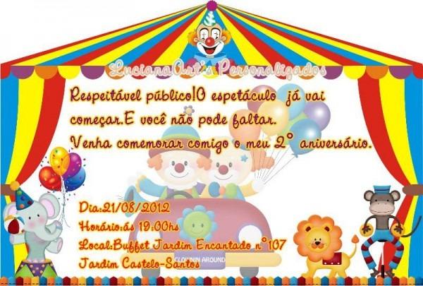 Convite Tenda De Circo