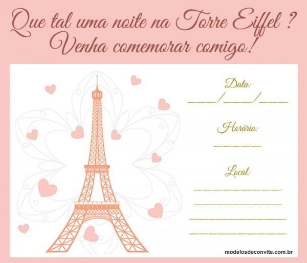 Convite Torre Eiffel  20 Modelos Sofisticados Direto De Paris
