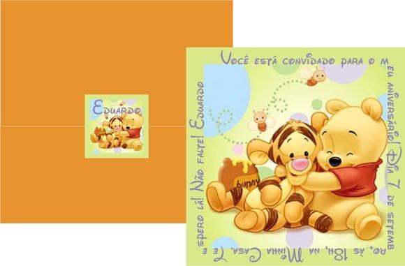 Convite Ursinho Pooh Baby Verde No Elo7