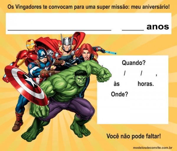 Convite Vingadores  47 Modelos Para Editar E Imprimir! – Modelos