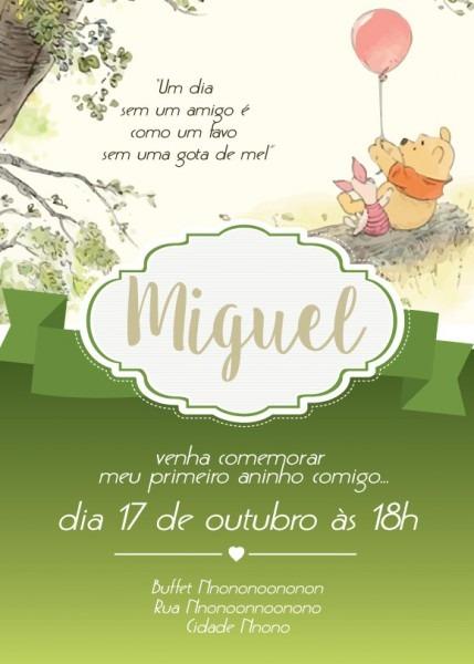 Convite Zap (virtual) Ursinho Pooh No Elo7