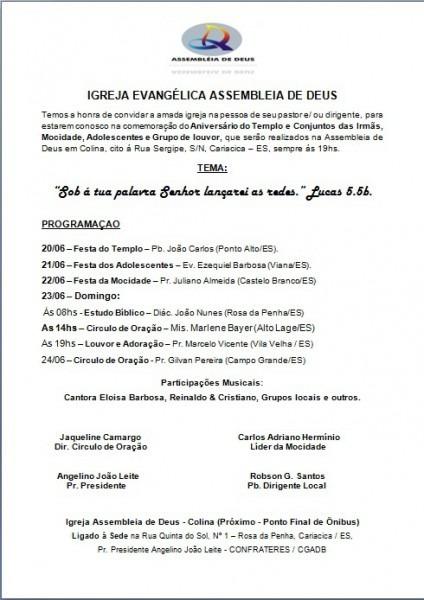 Carta Convite De Igreja Evangelica