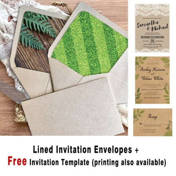 Convites De Casamento Envelopes A7 Rústico, Off Branco Forrado