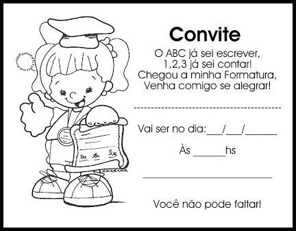 Convites De Formatura Para Educação Infantil Para Imprimir E Colorir