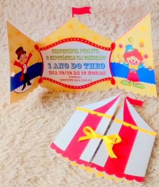 Convites Tenda Circo Palhaço