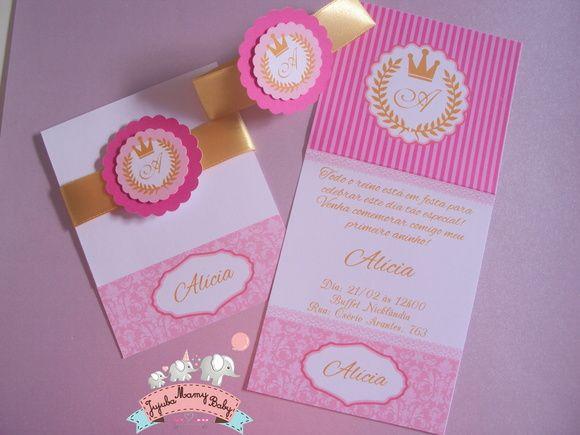 Lindo E Delicado Convite Tema Coroa De Princesa Realeza! Fazemos