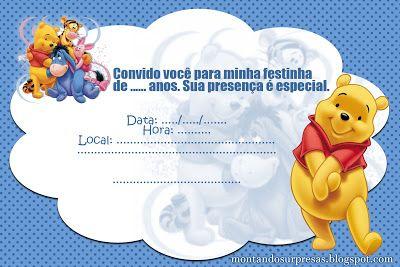 Montando Surpresas  Convite Ursinho Pooh Grátis Para Baixar E