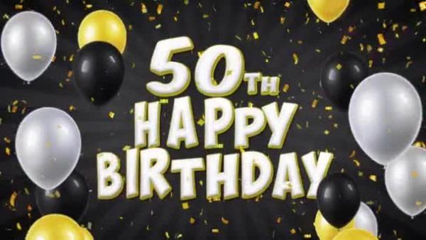 51  50º Aniversário Feliz Texto Preto Saudação, Desejos, Convite
