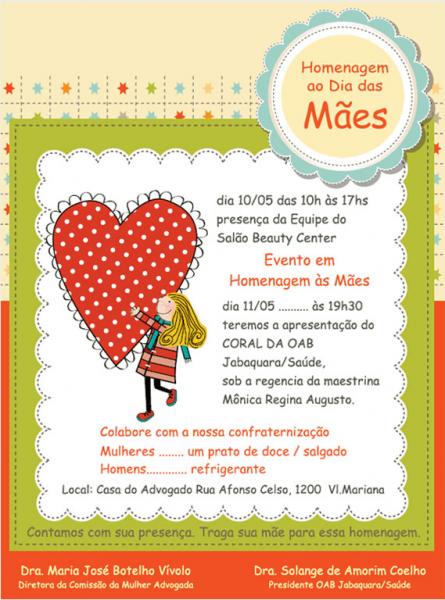 Convite  Homenagem Ao Dia Das Mães – Oab Sp Jabaquara (10 05