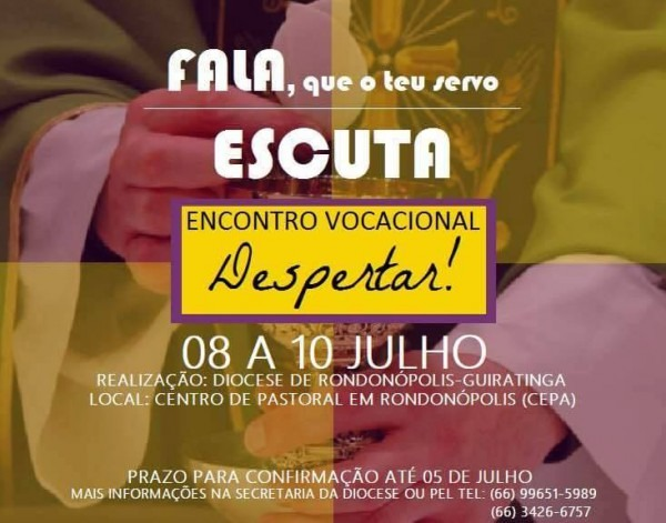 """Convite  Encontro Vocacional """"despertar"""" – Diocese De Rondonópolis"""