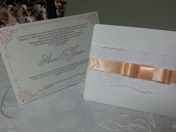 Envelope Convite Com Renda Casamentos