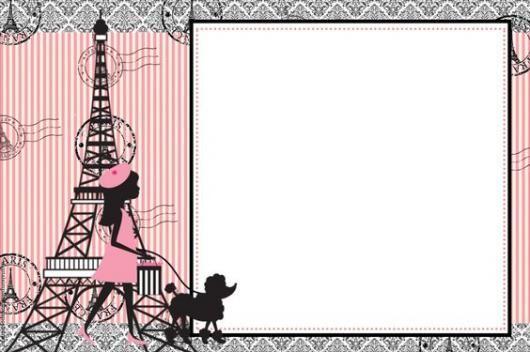 Convite Com Torre Eiffel E Mulher Passeando Com Cachorro Do Lado