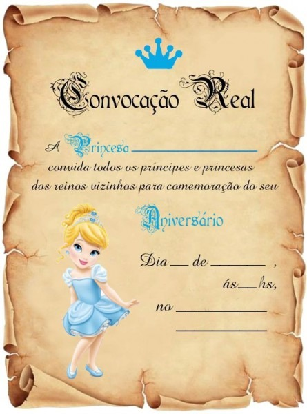 Festa Cinderela Baby Convite Aniversário Pergaminho C 30