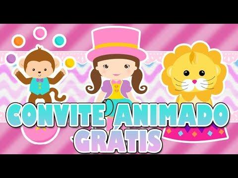 Convite Animado Circo Rosa
