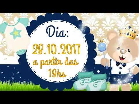 Convite Animado Chá De Bebé Urso Príncipe
