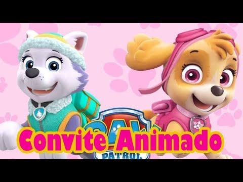 Convite Animado Patrulha Canina Menina