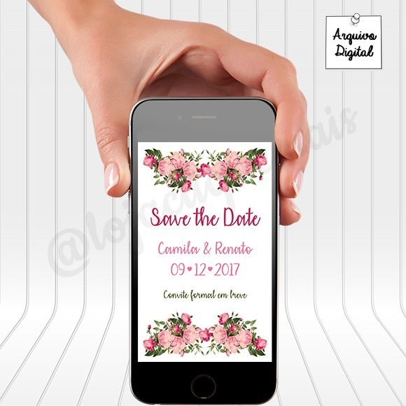 Kit Arte Digital Save The Date E Convite Casamento Floral