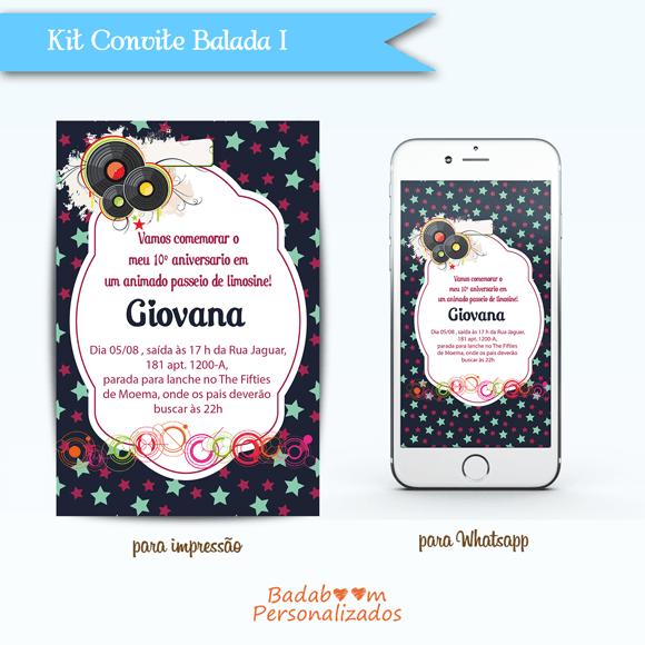 Badaboom Personalizados  Kit Convite Balada