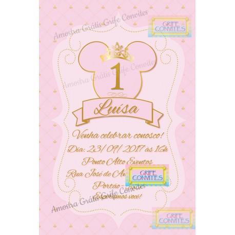Kit Festa Digital Minnie Mouse Princesa Rosa