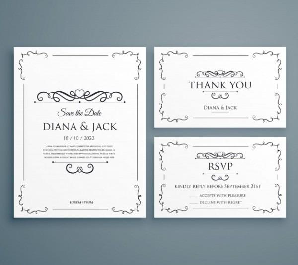 Limpe O Convite Do Casamento Thankyou Card Save The Date Template