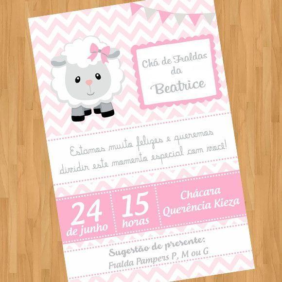 Menino Ou Menina Convite Digital Virtual Ovelhinha Ovelha