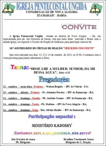 Convite Do Congresso Do Círculo De Oração Da Ipu De Nova Alegria