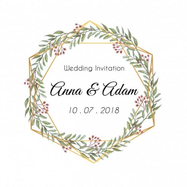 Ornamento Floral Da Folha Do Convite Do Casamento Redondo