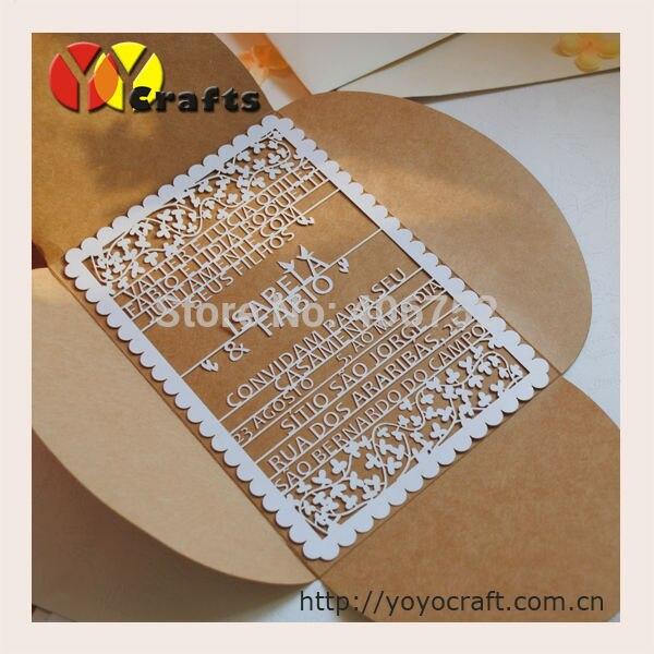 Papel Kraft Tecido Dobrável único Cartão Convites De Casamento Com