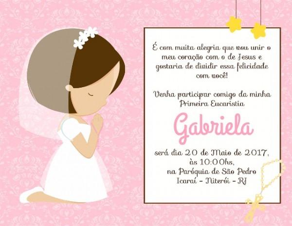 Convite Primeira Eucaristia Menina Por R$12,00