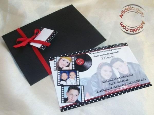 Convite 10x15 + Envelope Color + Adesivo Lacre + Fita + Tag