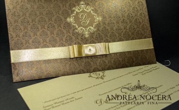 Arquivo De Convite De Casamento Marrom E Dourado