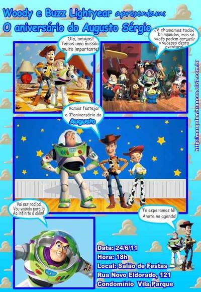 Toy Story Convite Gibi No Elo7