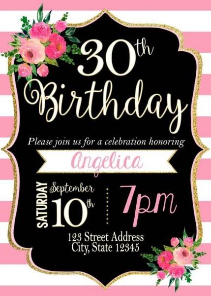 Pink & White Striped Birthday Invitation Stripes