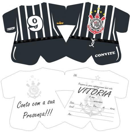 Convite De Aniversário Corinthians 08 Unidades
