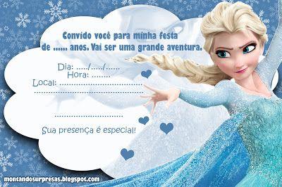 Montando Surpresas  Convite Lindo Frozen