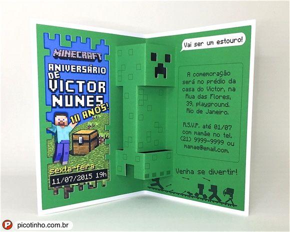 Convite Pop Up 3d Minecraft Creeper